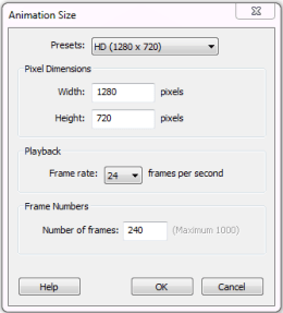 Animation Size dialogue in Sketchbook Pro