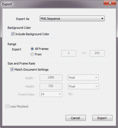 Save FlipBooks : Import, export, and save - the Export dialog in Sketchbook Pro