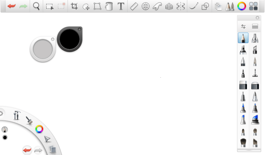 Example of the UI for Sketchbook Pro
