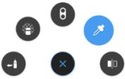 The marking menu with an option selected in the iPad version of Sketchbook