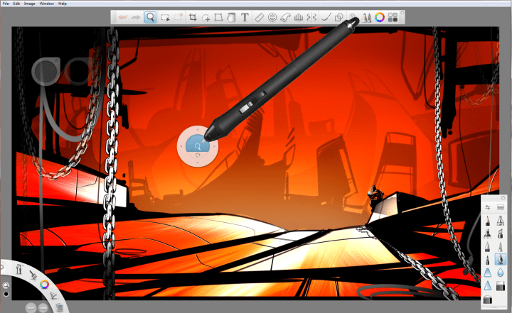 View of the Sketchbook Pro canvas and UI for Changing the view