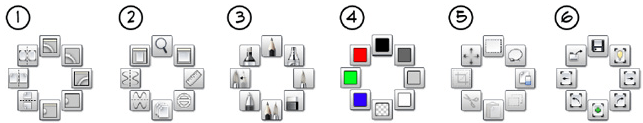 Lagoon marking menus with their tool sets from the desktop version of Sketchbook