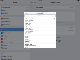 Language settings for selecting the language on iOS