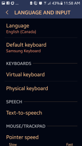 The Language settings on Android