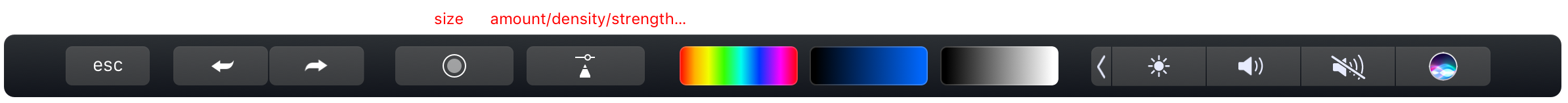 The Sketchbook Pro brush amount/density/strength button in the Touch Bar