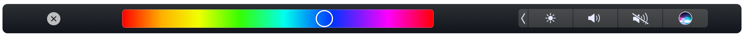 The Sketchbook Pro Hue slider in the Touch Bar