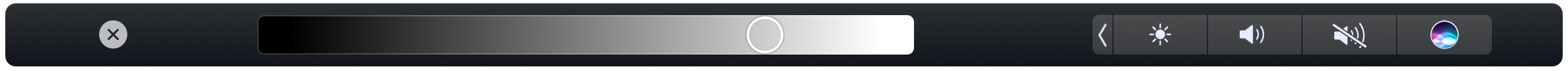 The Sketchbook Pro Luminance slider in the Touch Bar