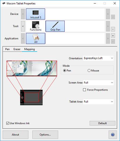 Windows Tablet Ink Settings for Window 10 via Wacom