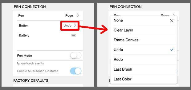 map any number of features to the stylus buttons.