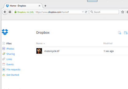 Dropbox account and upload the TIFF