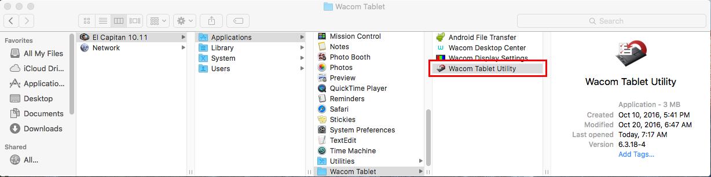 Double-click Wacom Tablet Utility.