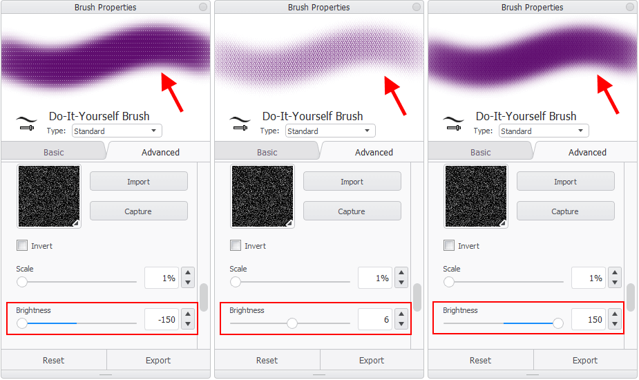 How to change textures by modifying brightness and contrast in Sketchbook Pro