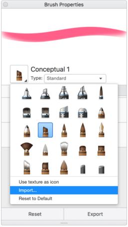 Import a custom brush icon