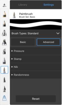 Brush Properties in the 64-bit iPad version of Sketchbook