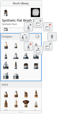 Sketchbook for Windows 10 Brush Library with brush set selected