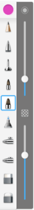Brush Palette showing sliders for changing brush size and opacity in the mobile version of Sketchbook
