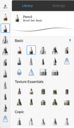 Tap Settings to access access Brush Properties and edit the brush.