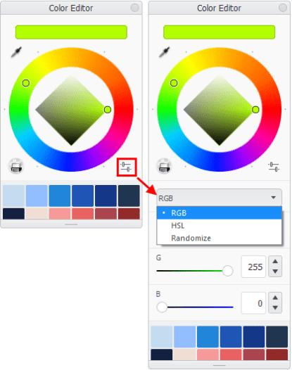 Randomize color in the Sketchbook Color Editor