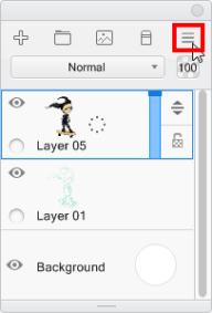 Layer menu in Sketchbook Pro