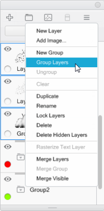 Group Layers in the Sketchbook Layer menu