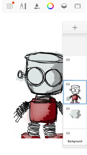 Merging layers in the handheld version of Sketchbook