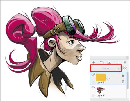 Layer blend mode menu highlighted in Sketchbook