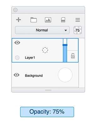 Sketchbook layer opacity slider