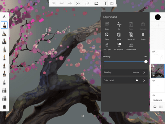 Changing layer opacity in Sketchbook for mobile