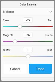 Color Balance tool in Sketchbook for Windows 10