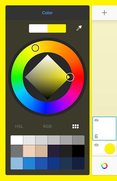 Select background color in Sketchbook on tablet