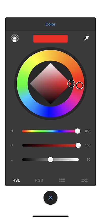 Select background color in Sketchbook on handheld