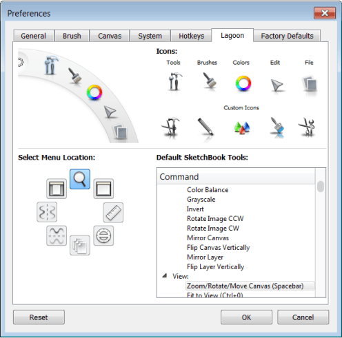 This tab contains options for change the tools displayed in the Lagoon and marking menus in Sketchbook Pro