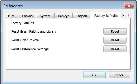 Factory Default preferences in Sketchbook Pro