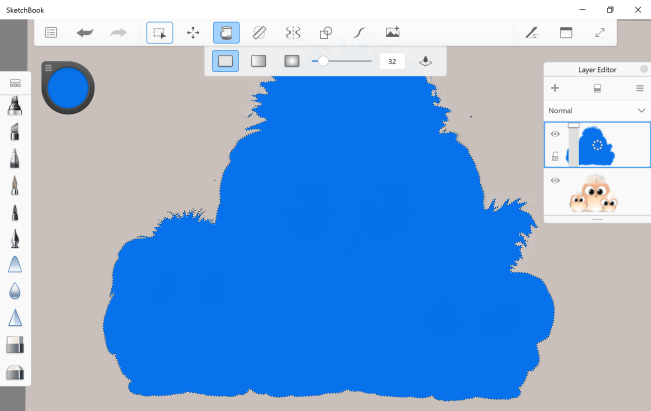 Inverted area filled with paint in the Windows 10 version of Sketchbook