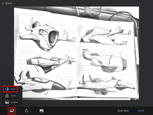 Scan Sketches black and white mode in the Sketchbook mobile version