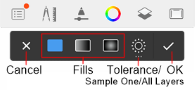 Fill toolbar for handheld devices in Sketchbook for mobile