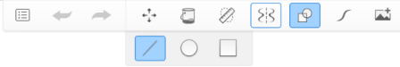 Toolbar with Shapes and secondary tool selected
