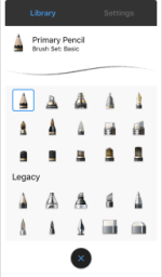 Basic and Legacy brush sets in the iOS version of Sketchbook