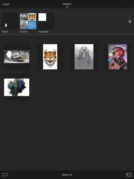 Pinch the canvas to switch to a small thumbnail view with all the folders