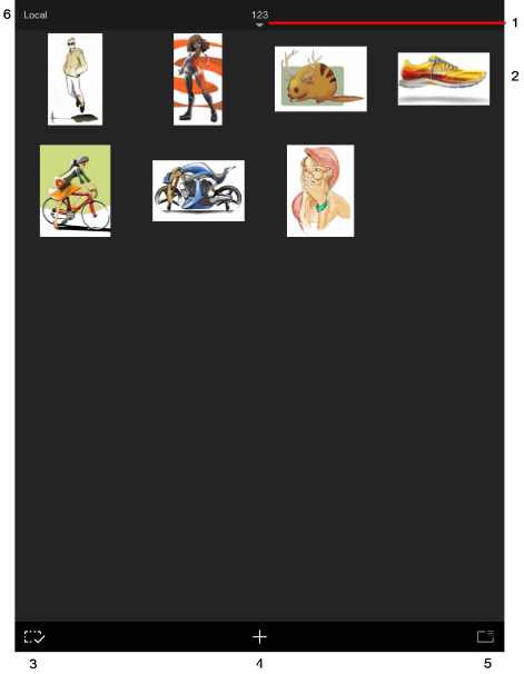Thumbnail view in the mobile version of Sketchbook
