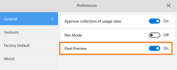 Sketchbook Preferences with Pixel Preview