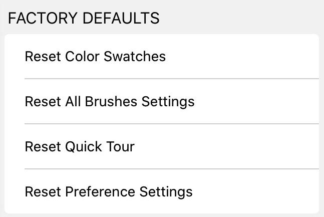Preferences - Factory Defaults
