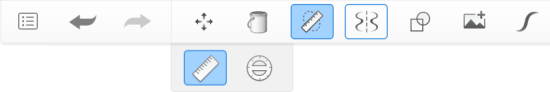 Toolbar showing Ruler selected as the main tool and Symmetry as a secondary one