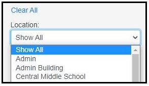 Location selection in Print Installation website. Location: Show all, Admin, Admin Building, Central Middle School