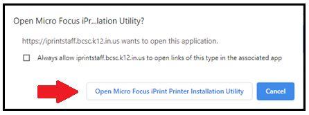 Arrow pointing to Open Micro Focus iPrint Printer Installation Utility button on bottom left.