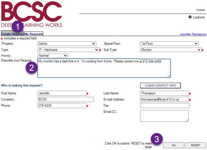 Creating new request - Create request tab, request description