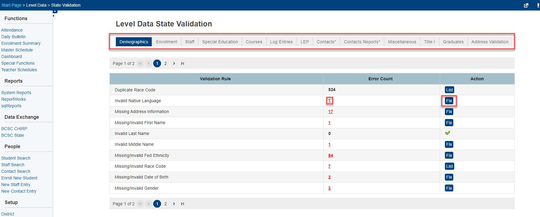 Level Data state validation dashboard
