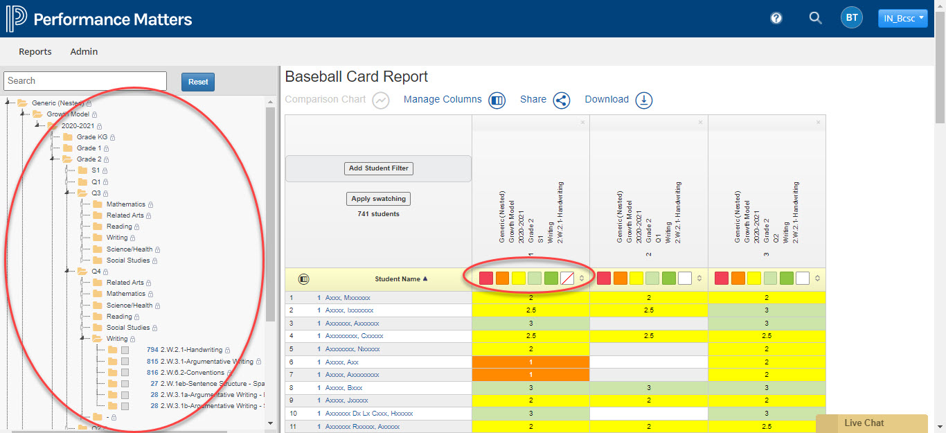 Baseball Card report in Performance Matters